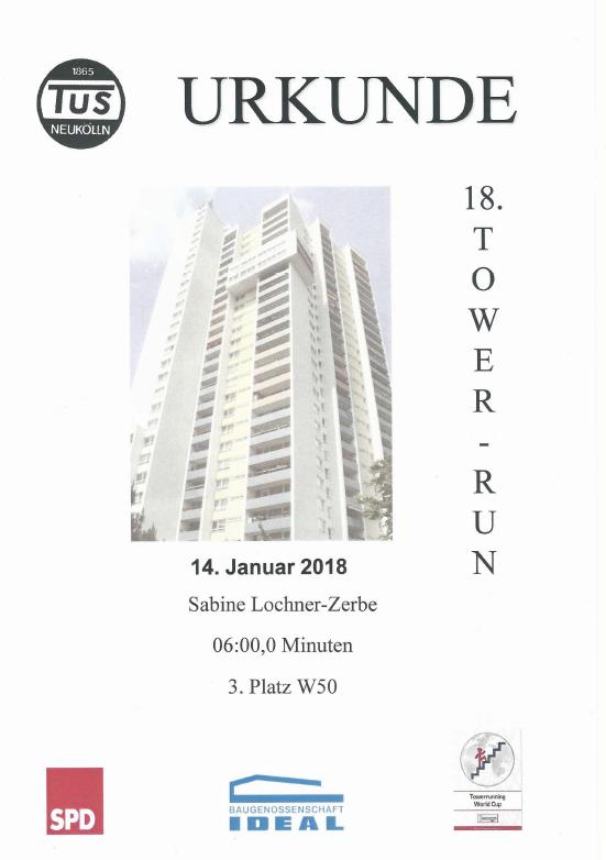 Tower Run Urkunde